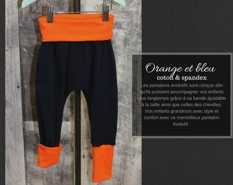 evolutive pants orange and blue