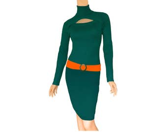 Green + Orange Sweater Dress