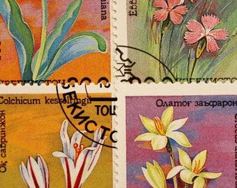 Uzbekistan Floral Postage Stamp Set // 1993 Flowers Stamp Series // Crocus // Tulip // Scrapbooking // Nature // Craft Ephemera // Upcycling