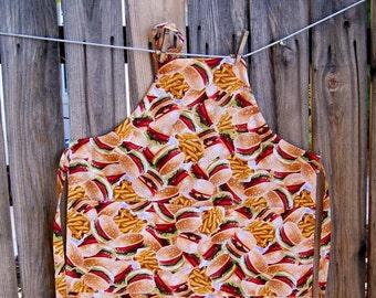 Hamburger Butcher Apron - Youth Burger and Fries Apron - Child Size Large