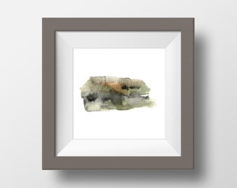 Square Wall Art, Abstract Watercolor, Earth Textures, Art Print #3, Brown, Green, Textured, Modern, Home Decor, Minimalism, Earthy, Black