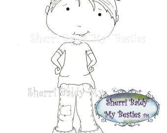 INSTANT DOWNLOAD Digital Digi Stamps Big Eye Big Head Dolls My Besties Pals My Little DimplesBoy 3  By Sherri Baldy