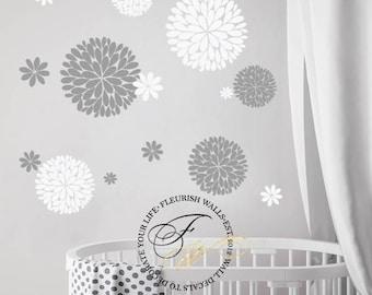 Flower Wall Decal - Girls Room Wall Decal - Flower Decals for Baby Girl Nursery Decor - Playroom Flower Stickers - Flower Wall Sticker DP010