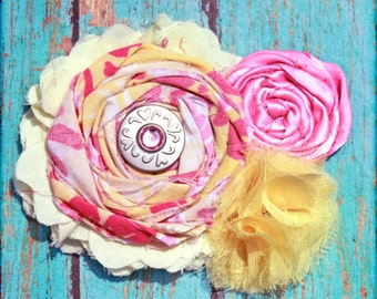Pink, Yellow Hair Bow, Baby, Infant, Flower Girl Headband, Hair Accessories, Fabric Flower Hair Clip, Yellow Headband, Brooch