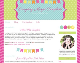 Instant Download - Premade Blogger Template - Everyday Magic