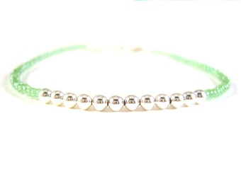 Simple Bracelet: Pastel Green Tiny Bead Friendship Bracelet UK