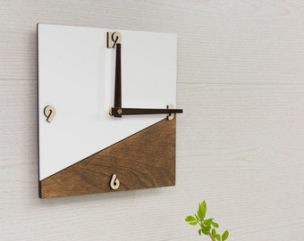 Wall Clock Wooden Wood White