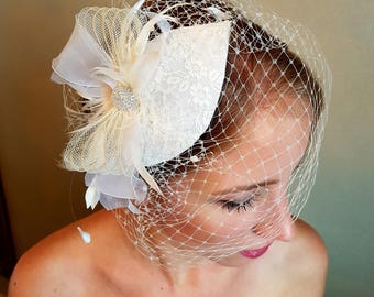 Wedding Head Piece with Crystal Rhinestones silk and french net, white,ivory or champagne. Agnes - wedding headpiece