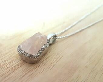 """Sri Lankan Raw Rose Quartz Pendant Necklace with 24"""" 925 Silver Silver Chain"""