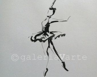Original ink drawing - Ballet Dancer - art