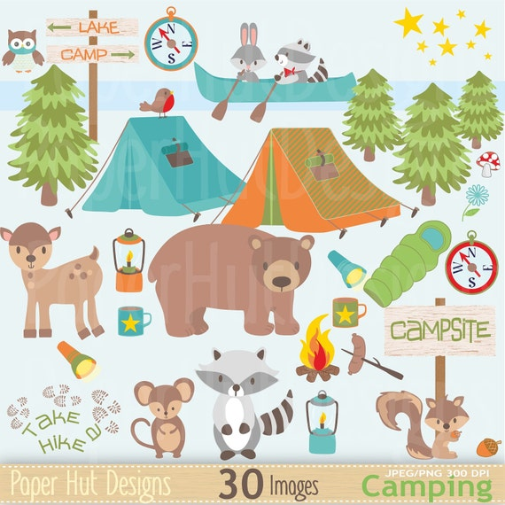 Boys Camping Clipart Clip Art Cute Forest Animals Bear Racoon Mouse Owl Deer Tent Canoe Lamp Torch BUY2GET1MOREFREE From PaperHutDesigns On
