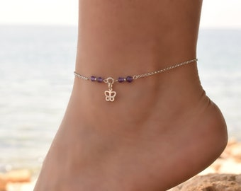 Butterfly Anklet, Anklet, Sterling Silver Anklet, Silver Ankle Bracelet, Beaded Anklet, Silver Anklets for Women, Body Jewelry