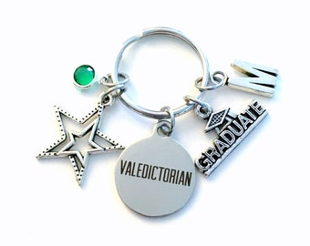 Valedictorian Gift, Graduation Keychain, Graduate Key Chain Star Keyring charm Initial letter her him men women teen girl boy birthstone for