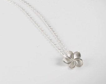 Tiare flower - silver necklace