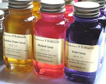 Spring Syrup Sampler - Violet, Dandelion, & Rhubarb
