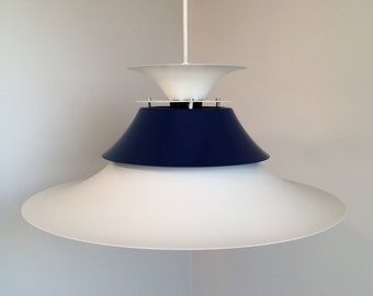 Danish Design Lamp From 1970s - Poul Henningsen Inspired - Danish Lighting Design - Beautiful White And Navy Blue Colors
