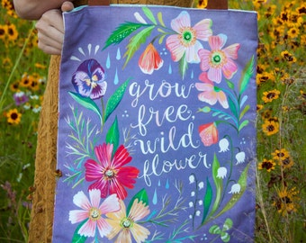 Grow Free Wildflower -  Handmade Cotton/Linen Tote Bag - Katie Daisy