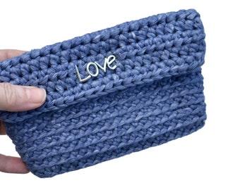 Knitted purse denim. Crochet purse blue. Pocketbook denim. Handmade purse. Card holder crochet. Handmade wallet. Card wallet. Everyday purse