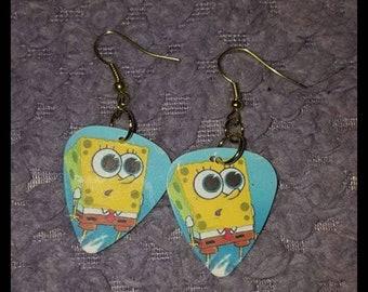 Spongebob squarepants guitar pick earrings