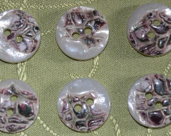 round Pearl with pattern - set of 6 - button