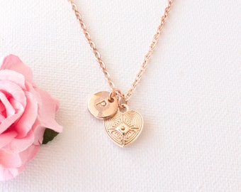 Rose gold Heart necklace, rose gold heart jewellery, heart jewellery, heart necklace, gift for mother, sisters necklace, RGHEIN0417