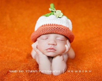 Knit Irish Flag Lucky Charm Hat, Knit Cotton Baby Hat great photo prop
