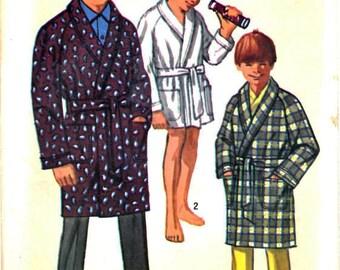 Simplicity 8471 Teen Boy's Shawl Collar Wrap Robe, Knee Length Robe, Raglan Sleeve Robe, Sewing Pattern Size 14 Vintage 1960s