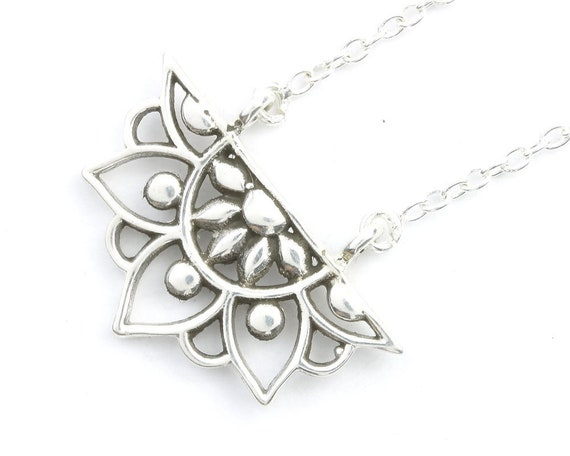 Sterling Silver Mandala Necklace, Flower Jewelry, Yoga Jewelry, Matching Set, Meditation, Spiritual, Boho, Gypsy, Festival