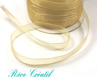 """5 meters Polyester Organza Ribbon, Golden Yellow , 1/4""""(6mm)"""