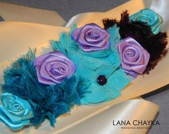 Turquoise Purple Ivory Flower Girl Sash Teal Eggplant Ivory Satin Belt Flower Girl Turquoise Violet Dress Sash Wedding Flower Girl Sashes