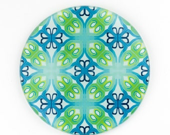Blue Green Coaster Gift Set of 4 - Designer Tableware Wine Glass Coaster - Colour Lover Mug Mat - Color Splash Art - Art Deco Coaster