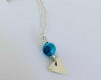 Turquoise Hammered Sterling Silver Arrowhead Earrings - Chakras - Protection - Healing - Boho - Bohemian - Triangle -