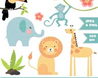 Cute Jungle Digital Clipart - Lion, Toucan, Monkey, Giraffe, Elephant, Vine - great for card making and invitations - 300 dpi