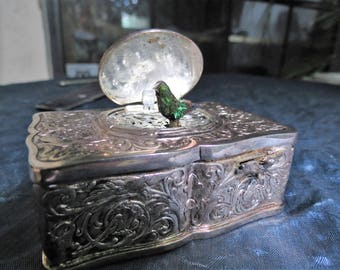 Sterling Silver Music Box - German Musical Bird Box Automaton