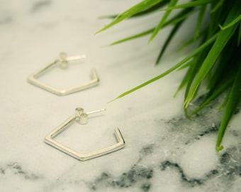 Geometric Silver Hoop Earrings