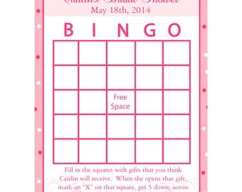 24 Personalized Bridal Shower Bingo Game Cards -  Modern Bride -   Pinks - Wedding