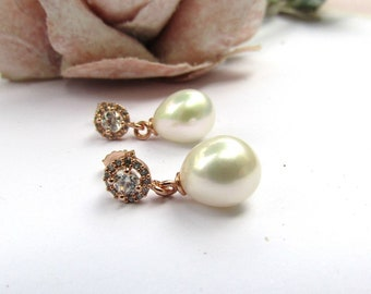 Rose gold, freshwater pearl bridal earrings, Vintage style earrings, freshwater tear drop pearl earrings, wedding earrings, stud earrings