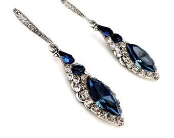 bridesmaid gift wedding jewelry bridal earrings prom party navy montana deep blue marquise swarovski crystal rhinestone rhodium silver hook