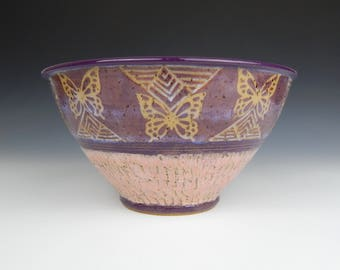 ceramic mixing bowl, ceramic fruit bowl, pottery mixing bowl, purple bowl, sgraffito pottery, geometric bowl