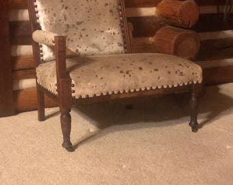 Beautiful Antique 100% Refurbished Settee in Metallic Hair On Hide Leather Great Chair / Love Seat