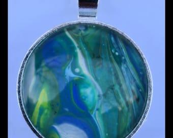 Round Silver-Plated Pendant: Green, Blue, White, Yellow Swirls 1 in. Diameter