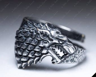 Game of Thrones House Stark - Jewelry Direwolf Ring