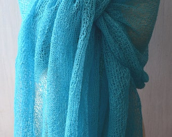 Turquoise Blue Linen Shawl Scarf Natural Summer Wrap for Women