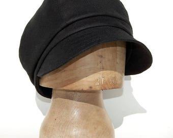 Handmade black French linen newsboy cap 5 panel hat hats women summer hat baker boy cap  boho chic captain cap feminist gift boyfriend gift
