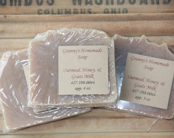 Oatmeal, Honey and Goats Milk Homemade Soap, Handmade, Cold Process Soap