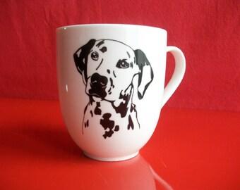 "Mug decorated with a ""Dalmatian"" mug in Limoges porcelain, hand painted mug, domed mug, mug, tea, coffee mug, chocolate mug"