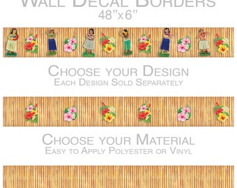 Tiki Hawaiian Hula Wall Decal Borders
