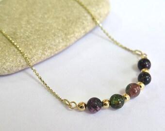Gold Tourmaline Necklace - Tourmaline Necklace - Gold Necklace - Gemstone Necklace - Beaded Necklace - Gold Necklace - Tourmaline Jewelry