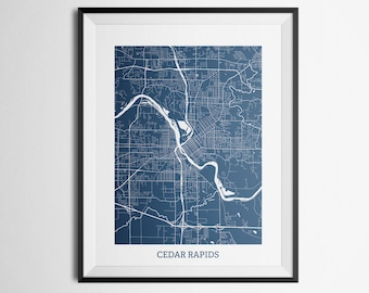 Map of Cedar Rapids, Iowa Abstract Street Map Print
