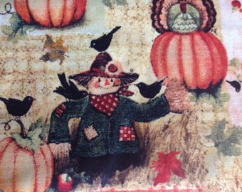 Give Thanks Scare Crow/Quilting Sewing Fabric/Harvest Pilgrim Hat Turkey Pumpkins Crows Sunflowers Apple Autumn Leaves/HALF Yard Pricing